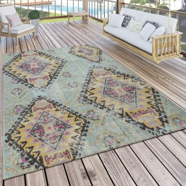 Outdoor Teppich Türkis Balkon Terrasse Rauten Orient Pastellfarben Robust Weich