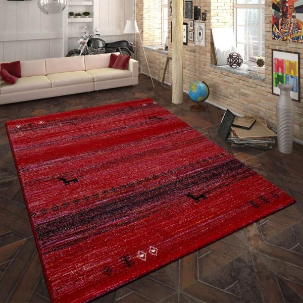 Heatset Teppich Indianisches Design Rot