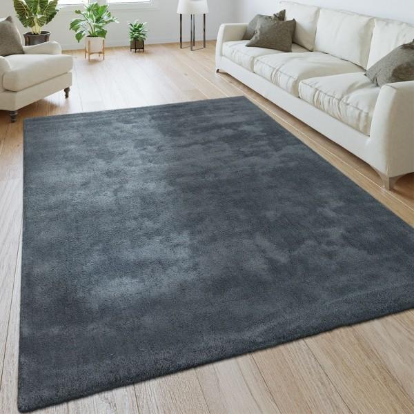 Handgemachter Teppich Super Soft Silber
