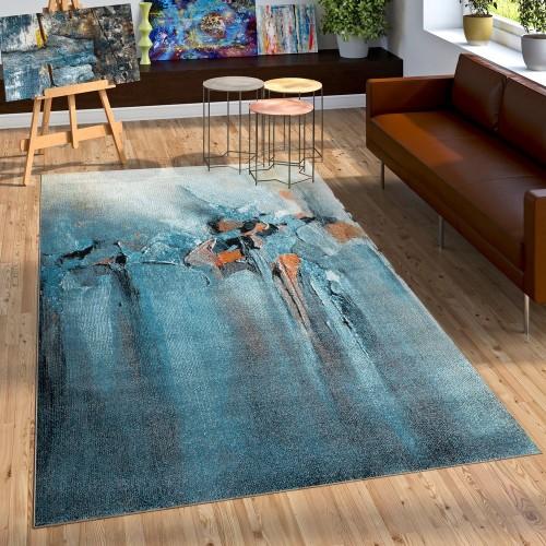 Designer Teppich Wohzimmer Ölgemälde Stil Hoch Tief Optik In Blau Grau Orange