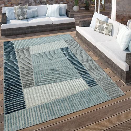 In- & Outdoor Terrassen Teppich Geometrisches Design Pastell Türkis Grau Creme