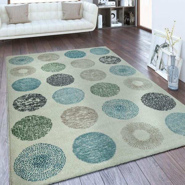 Designer Teppich Kreis Muster Weiß