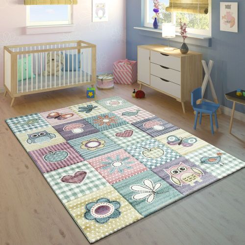 Kinderteppich Kinderzimmer Konturenschnitt Niedliche Motive Pastell Mehrfarbig