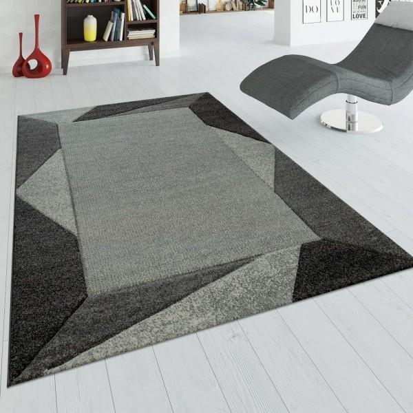 Wohnzimmer Teppich Schlafzimmer Grau Kurzflor Bordüre 3-D Effekt Dreieck Design