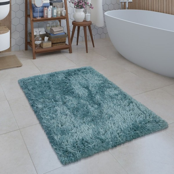 Moderne Badematte Badezimmer Teppich Shaggy Kuschelig Weich Einfarbig Türkis
