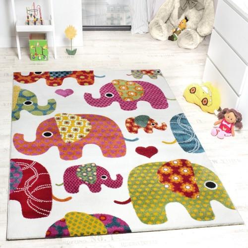 Moderner Kinderzimmer Teppich Bunte Elefanten Multicolour Creme Grau Fuchsia