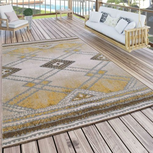In- & Outdoor Teppich Modern Nomaden Design Terrassen Teppich Wetterfest Gelb