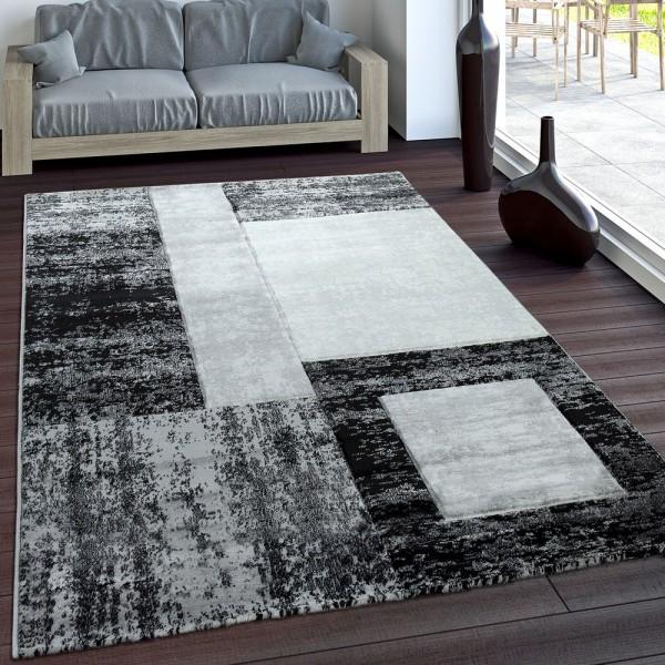 Designer Teppich Konturenschnitt Modern Geometrische Muster Grau Schwarz