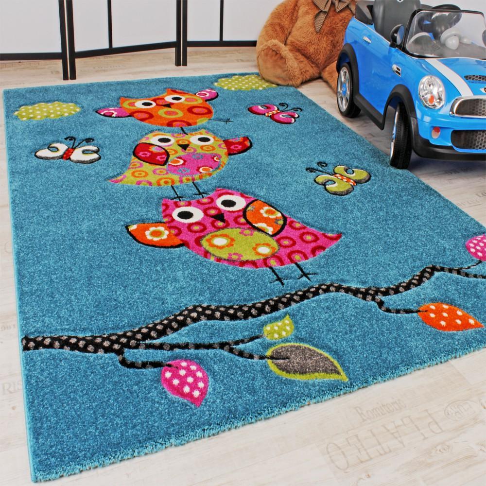 Kinder Teppich Niedliche Eulen Türkis