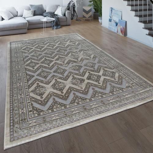 Wohnzimmer Teppich Orientalisch Braun Beige Kurzflor Ethno Stil Used Look Vintage