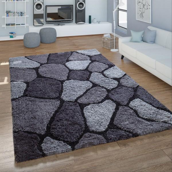 Hochflor Teppich Handgetuftet Kreis Design Shaggy