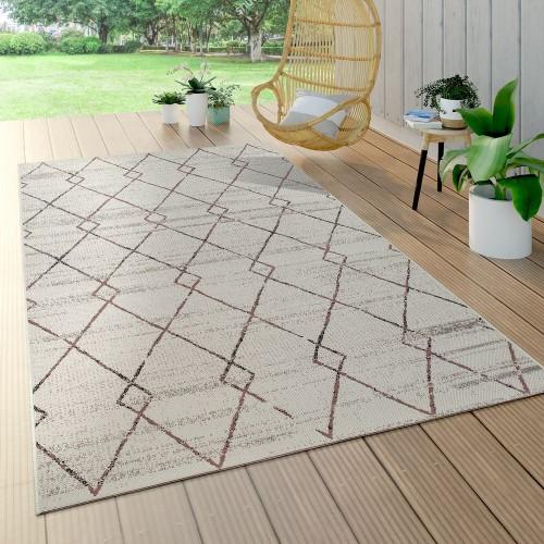 In- & Outdoor Teppich Flachgewebe Ethno Gecarvtes Abstraktes Rauten Design Creme