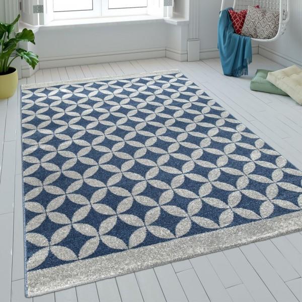 Teppich Wohnzimmer Kurzflor Kreise Batik In Blau Grau Modern Retro Optik