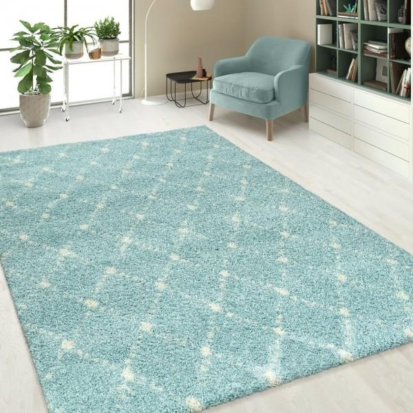Hochflorteppich Einfarbig Rauten Muster Blau