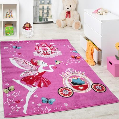 Kinderteppich Pink Zauberfee Prinzessin Kinder Teppiche für Mädchen Fuchsia Pink