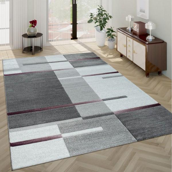 Moderner Kurzflor Wohnzimmer Teppich Karo Muster Geometrisches Design Lila Grau