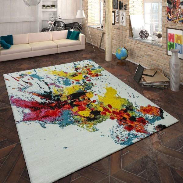 Designer Teppich Farbklecks Multicolor