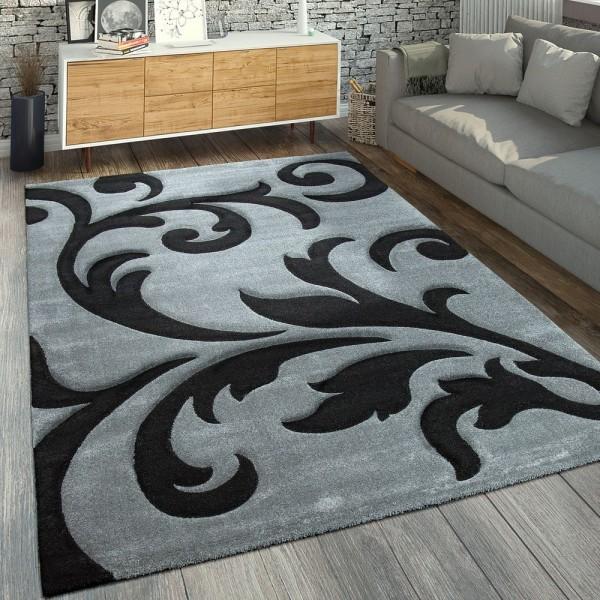 Designer Teppich Florales Muster Grau Schwar