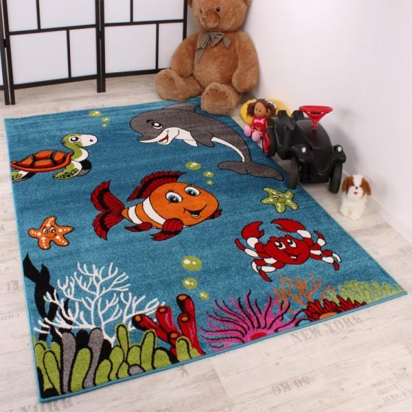 Kinderteppich Clown Fisch Aqua Kinderzimmer Teppich In Türkis Grün Creme Pink