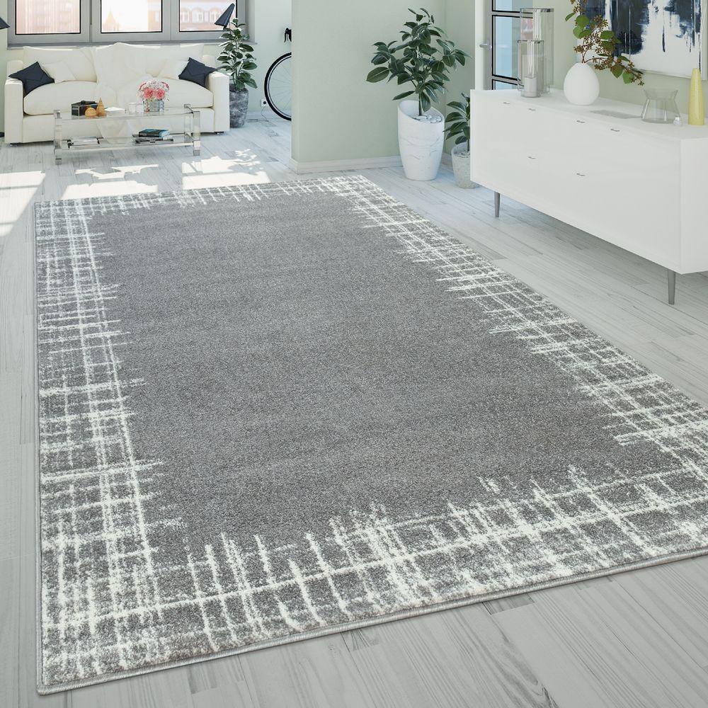 Kurzflor Wohnzimmer Teppich Bordüre Used Design