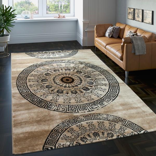 Teppich Gemustert Kreis Ornamente Meliert