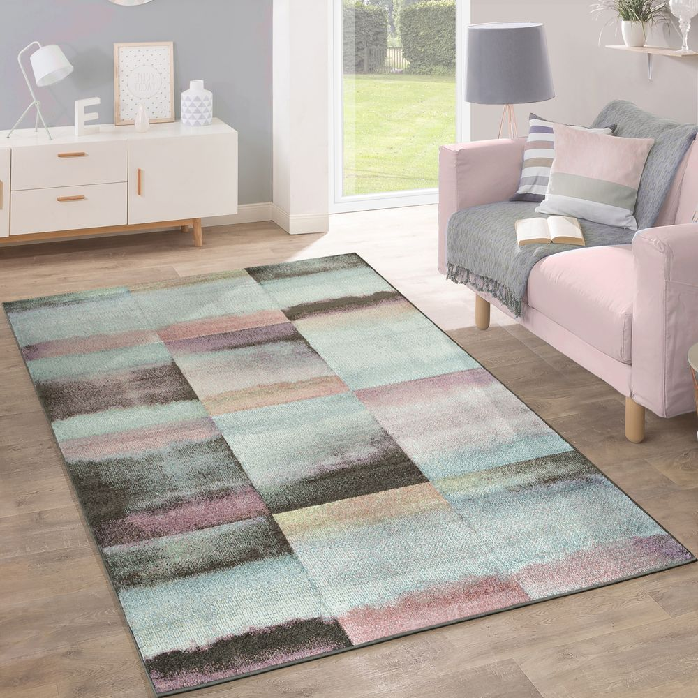 Teppich Modern Wohnzimmer Farbverlauf Karo Muster