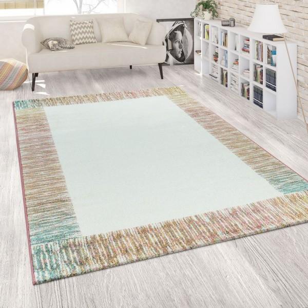 Teppich Wohnzimmer Weiß Rosa Bunt Pastell Bordüre 3-D Effekt Weich Kurzflor