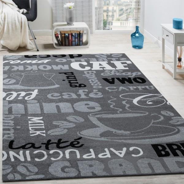 Designer Teppich Kaffee Typografie Design Trendig Modern Kurzflor Meliert Grau
