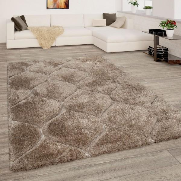 Teppich Wohnzimmer Beige Braun Hochflor Shaggy Weich Flauschig 3-D Wellen Muster