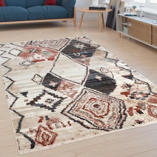 Teppich Wohnzimmer abstraktes Rauten-Muster