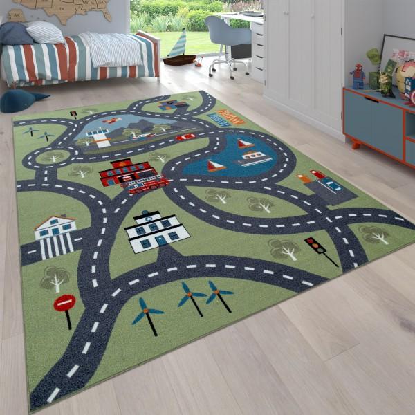 Kinderteppich Spielteppich Stadt Autos Feuerwehr