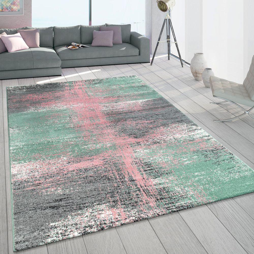 Teppich Wohnzimmer Pastell Vintage Design Frisé