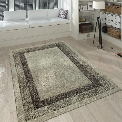 Kurzflor Teppich Wohnzimmer Modern Meliert Bordüre Farbverlauf In Creme Beige