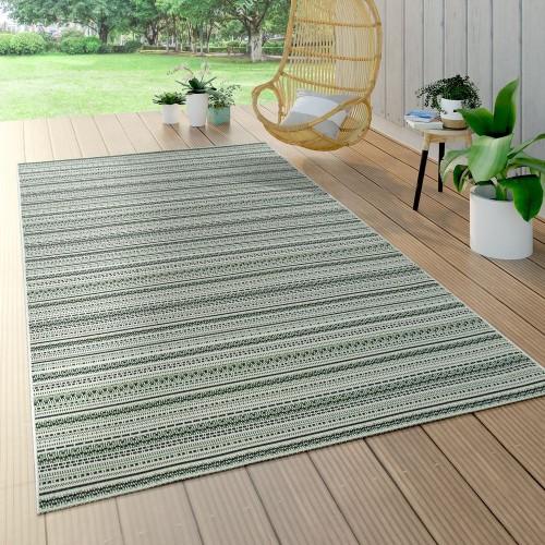 In- & Outdoor Teppich Flachgewebe Gecarvt Geometrische Streifen Design In Grün