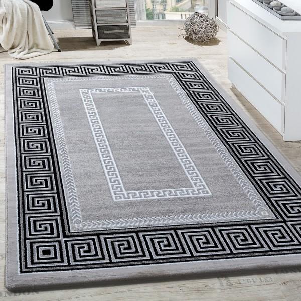 Teppich Wohnzimmer Bordüre Ornament Muster Abstrakt Design Meliert Grau