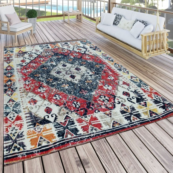 In- & Outdoor Teppich Modern Orient Muster Terrassen Teppich Wetterfest Bunt