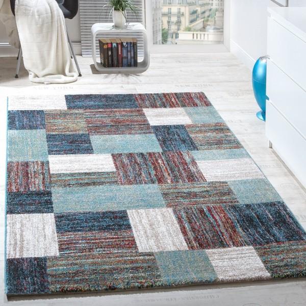 Teppiche Modern Wohnzimmer Teppich Spezial Melierung Karo Muster in Blau Creme