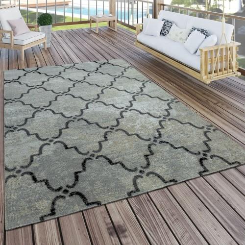 In- & Outdoor Teppich Modern Vintage Design Terrassen Teppich Wetterfest Grau