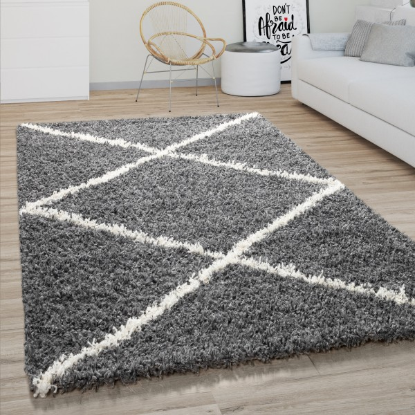 Teppich Wohnzimmer Shaggy Skandi Rauten Muster