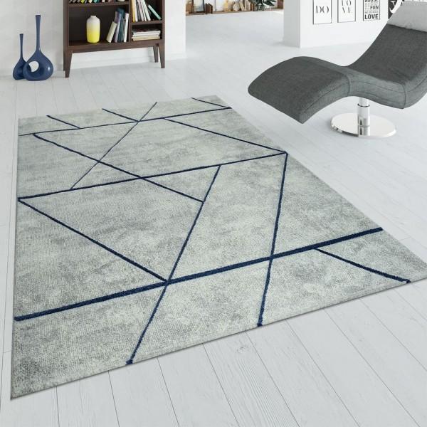 Kurzflor Teppich Wohnzimmer Grau Blau Marmor Design 3-D Muster Kurzflor Weich