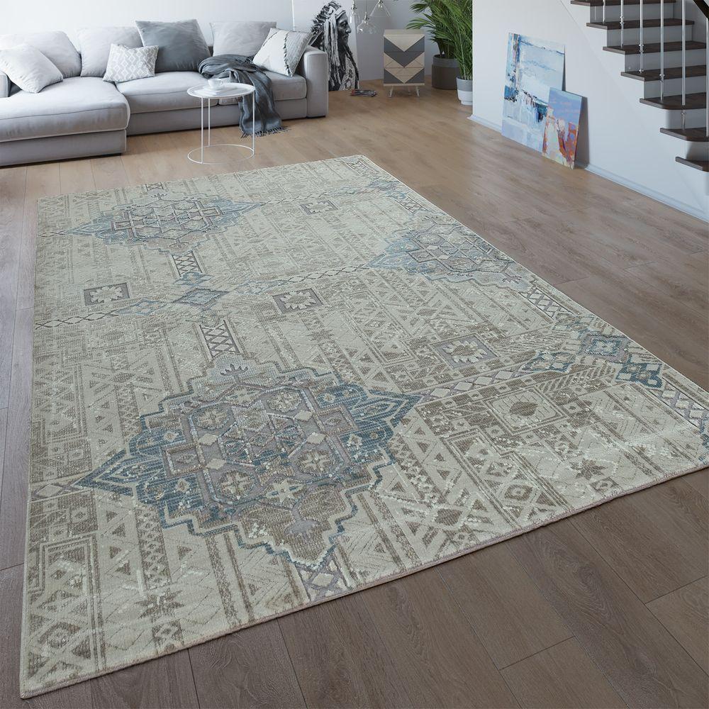 Vintage Teppich Wohnzimmer 3-D Ethno Design Boho