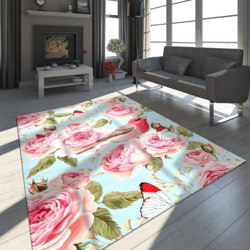 Designer Teppich Rosen Vogel Muster Blau