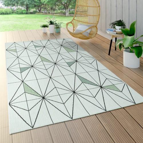In- & Outdoor Teppich Grün Beige Rauten Muster