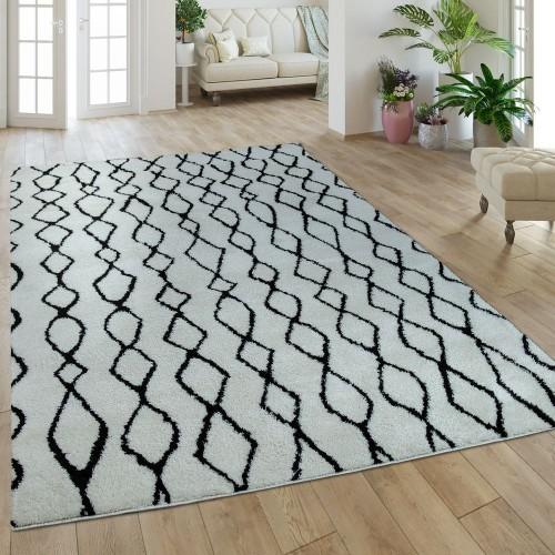 Hochflorteppich Rauten Muster Weiß Schwarz