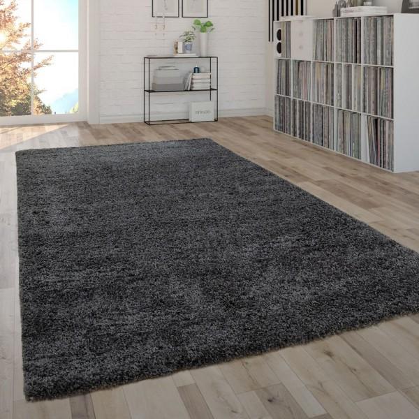 Shaggy Teppich Hochflor Flauschig Wohnzimmer Pflegeleicht Modern Uni In Anthrazit