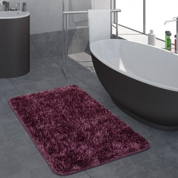 Moderner Hochflor Badezimmer Teppich Einfarbig Badematte Rutschfest In Dunkellila
