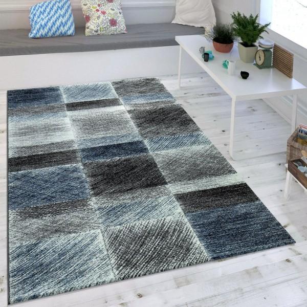 Wohnzimmer Teppich Indigo Blau Grau Trend Vintage Design Mit Karo Muster