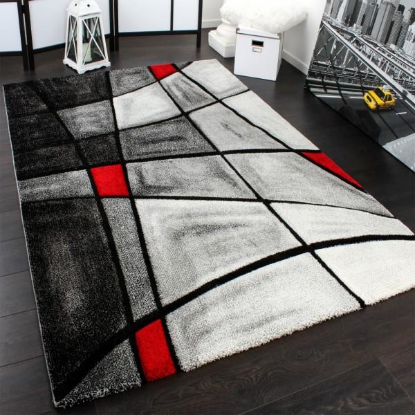 Designer Teppich Karo Modern Handgearbeiteter Konturenschnitt Grau Rot