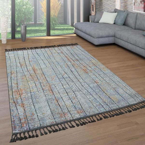 Kurzflor Teppich Wohnzimmer Fransen Bunt Blau Streifen Ethno Design Used Look