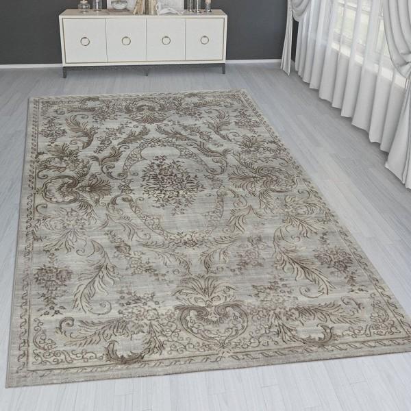 Orient Teppich Modern 3D Effekt Bordüre Ornamente Gold Grau Schimmernd
